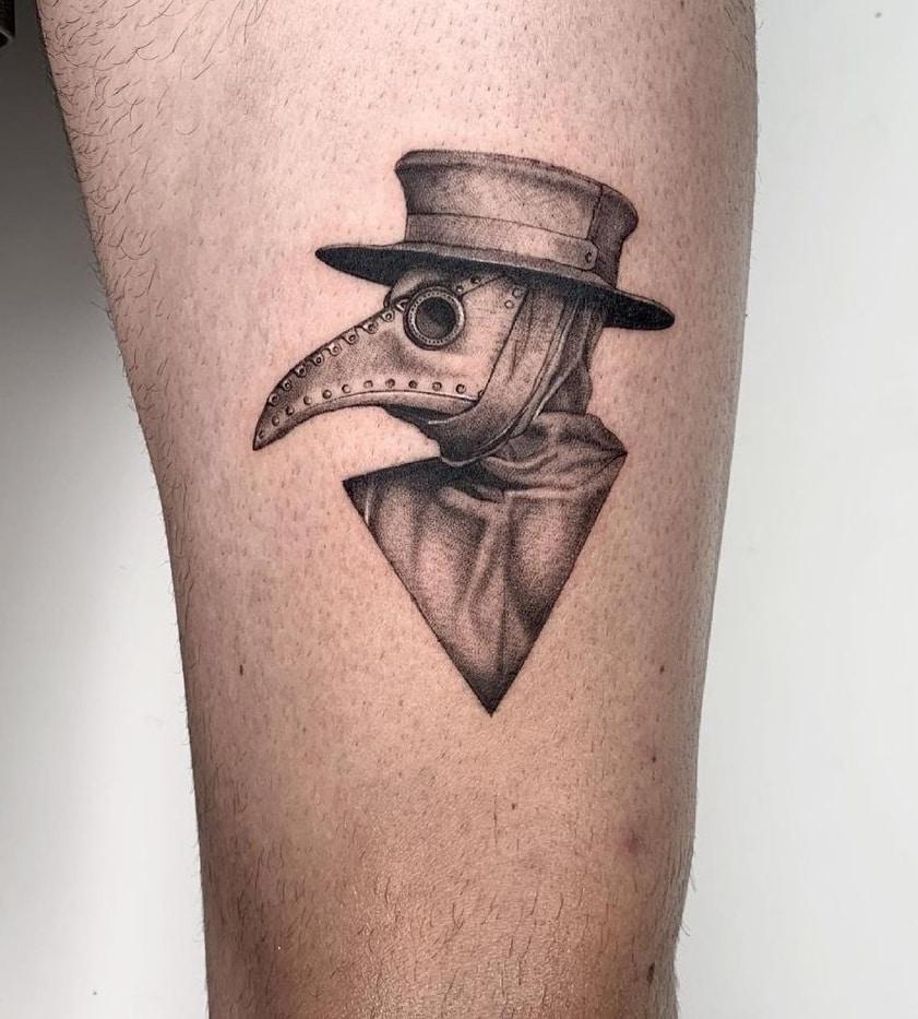 Fine Line Plague Doctor Tattoo