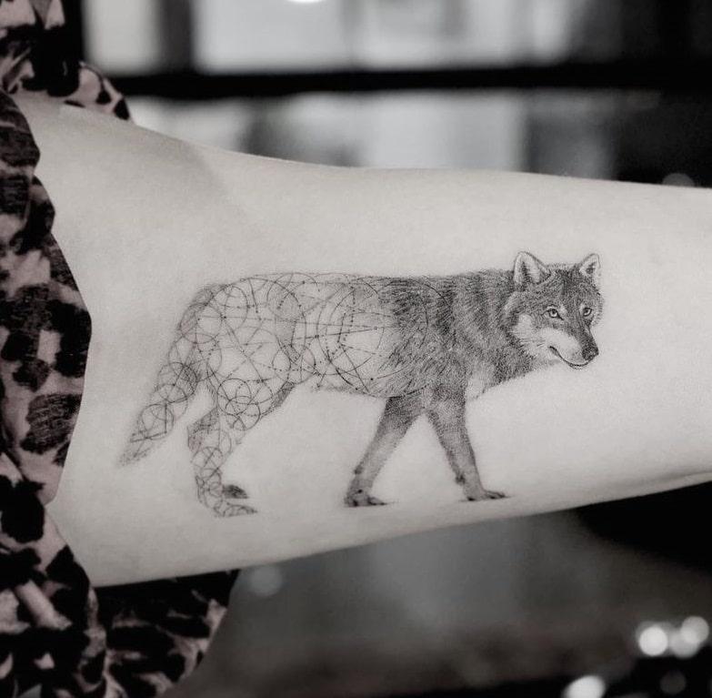 Geometric Wolf Tattoo