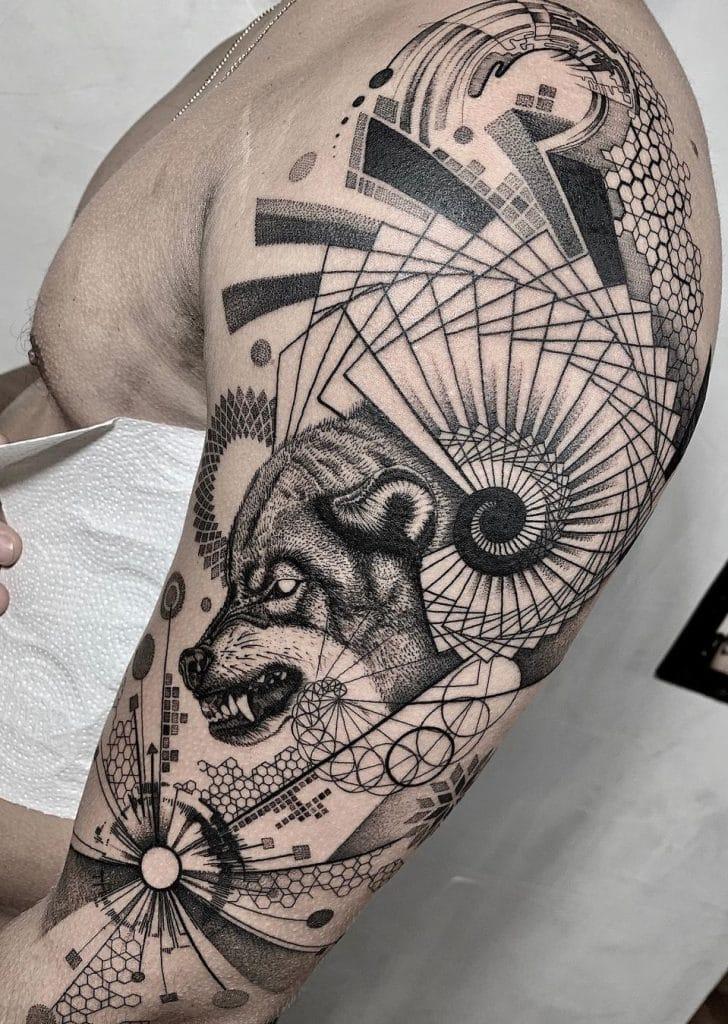Graphic Wolf Tattoo