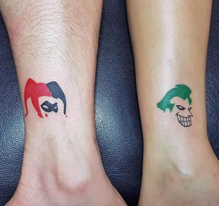Harley Quinn and Joker Matching Couple Tattoos