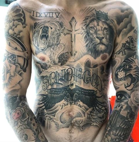 Justin Bieber Eagle Tattoo