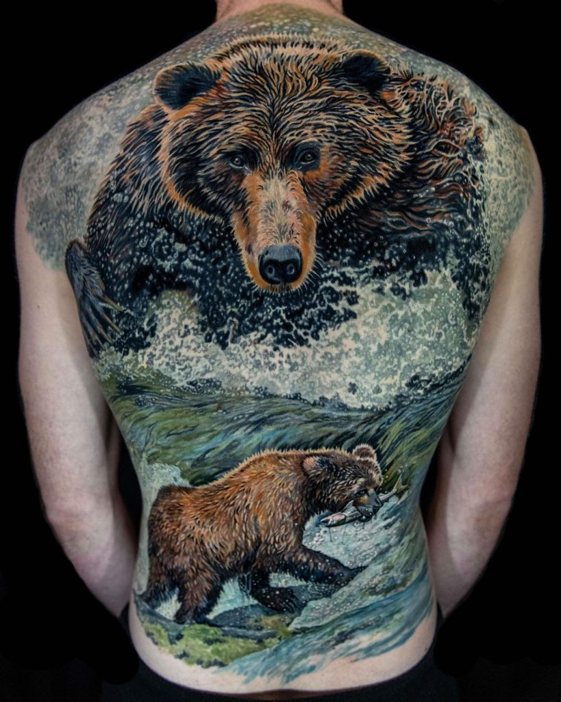 Large Bear Tattoo on the Back