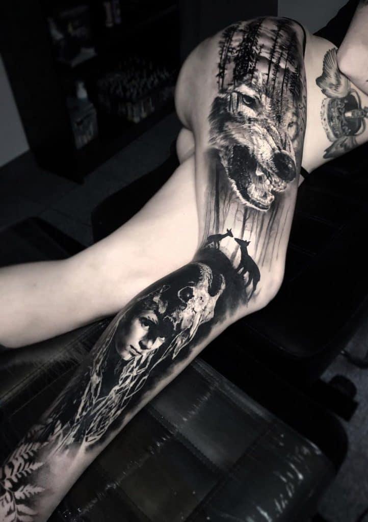 Large Wolf Tattoo