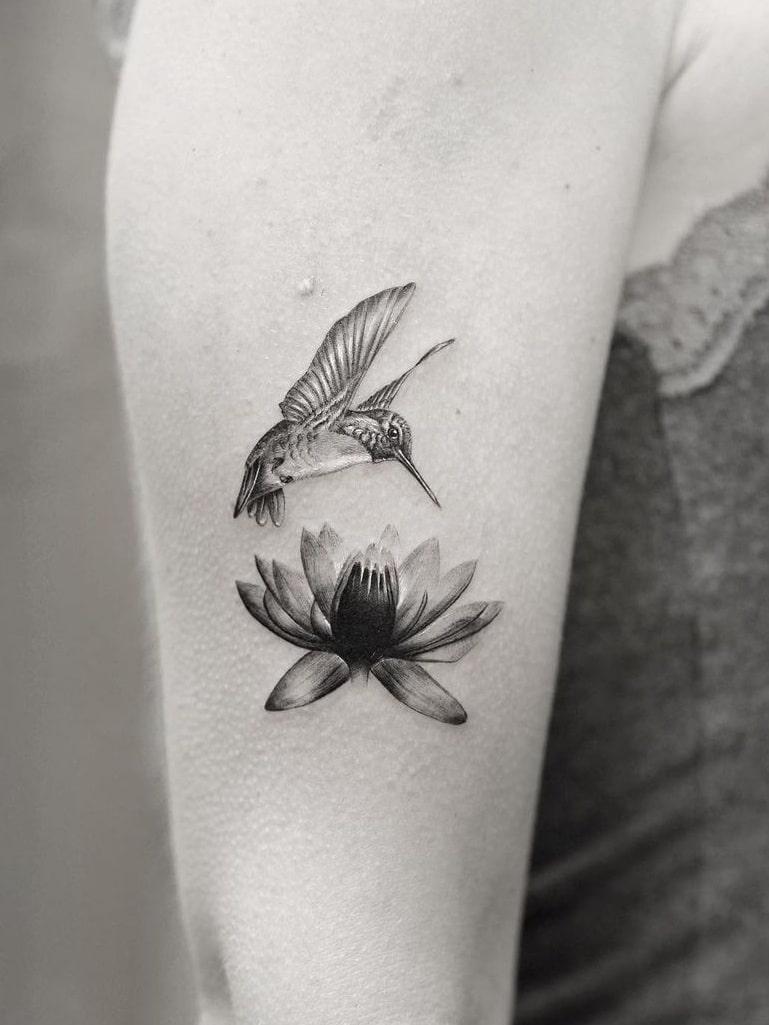 Lotus Tattoo and Hummingbird Tattoo