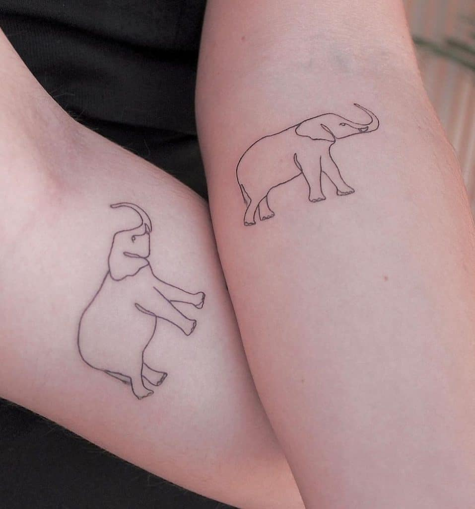 Matching Elephant Tattoos for Couples