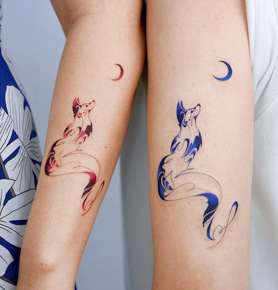 Matching Fox Tattoos for Couples