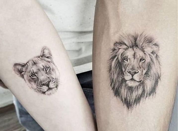 Matching Lion Tattoos for Couples