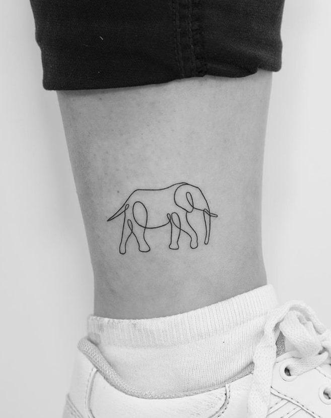 Minimalist Elephant Tattoo