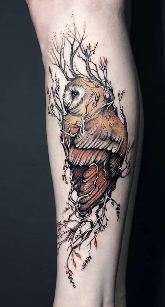 Olive Branch with Owl Tattoo