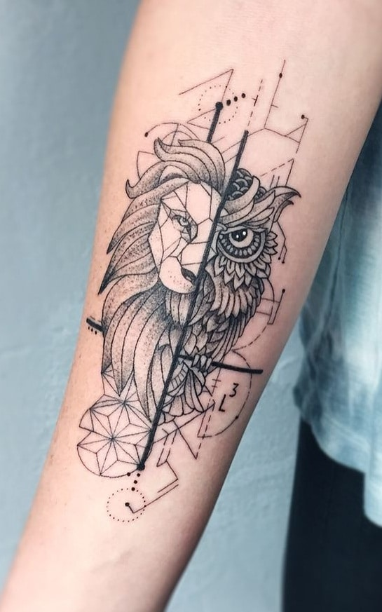 Owl and Lion Tattoo