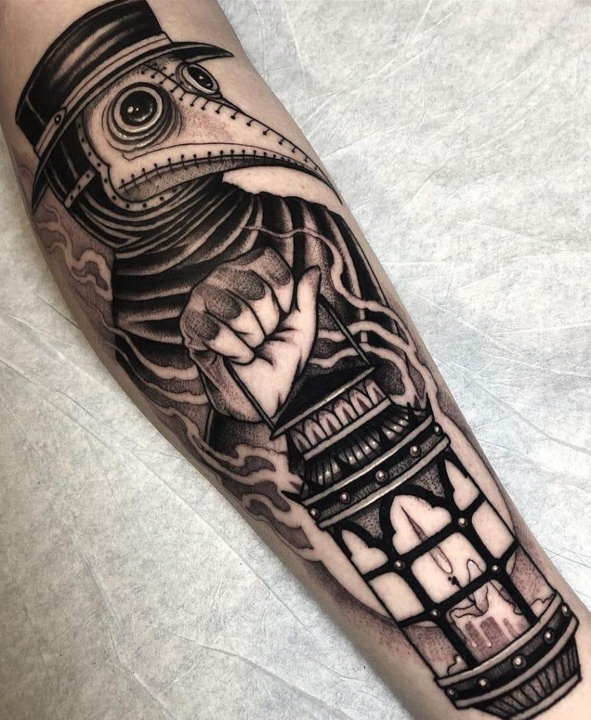 Plague Doctor Forearm Tattoo