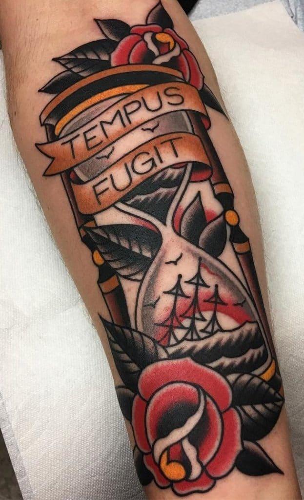 Rose and Hourglass Tattoo