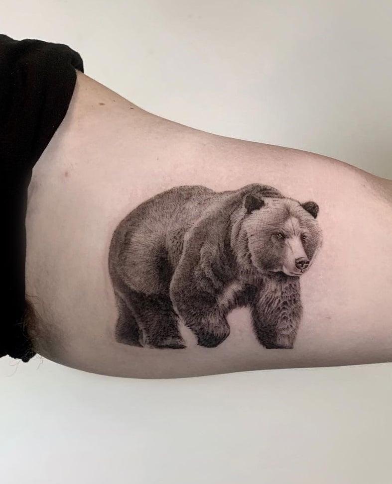 Single Needle Bear Tattoo