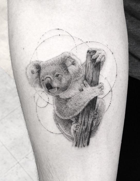 Single Needle Koala Bear Tattoo