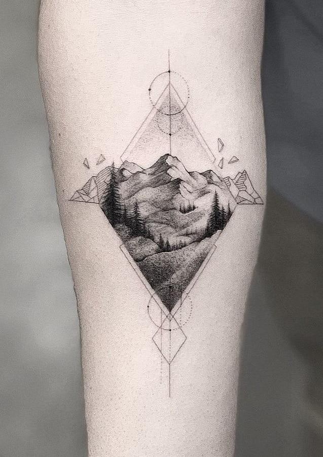 Single Needle Nature Tattoo
