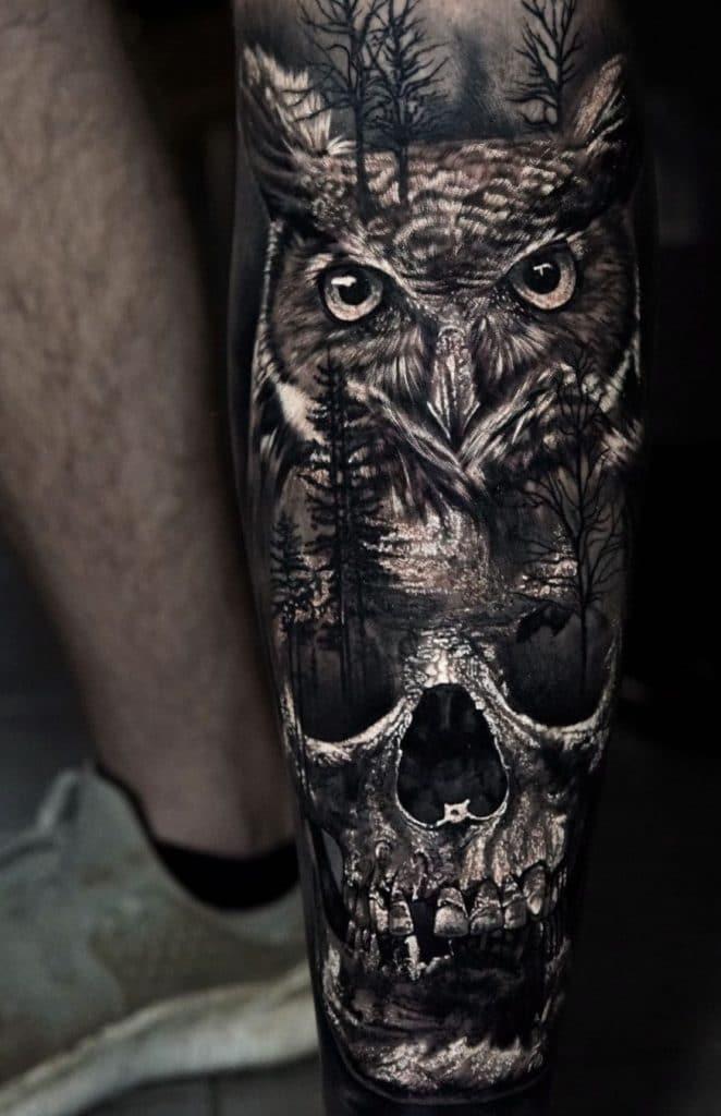 Skull Tattoo and Owl Tattoo
