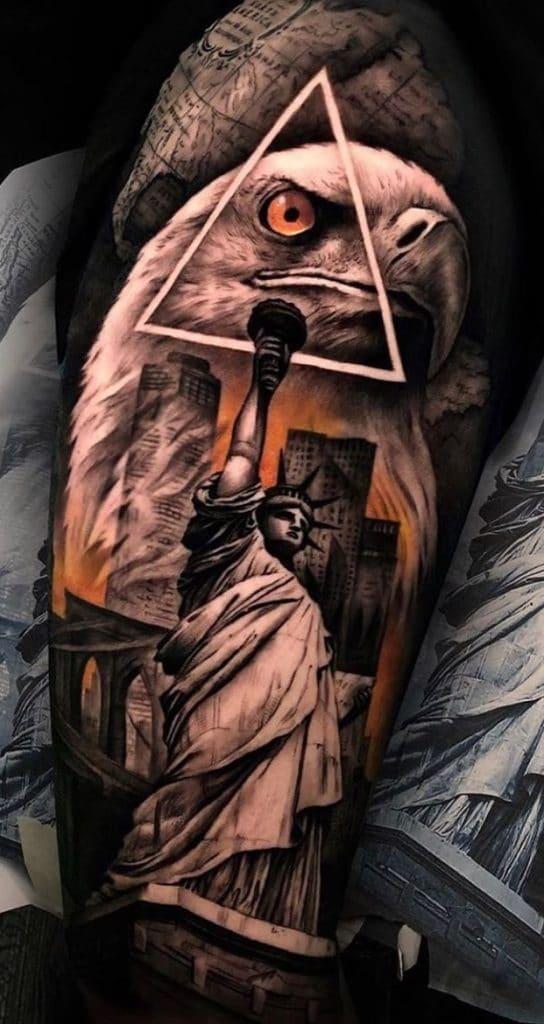 Statue of Liberty and Eagle Tattoo