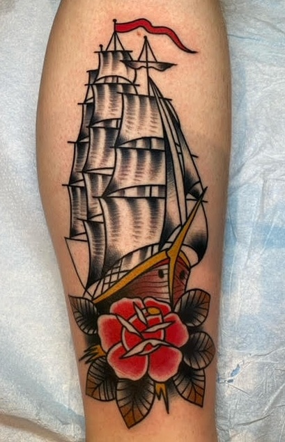 Traditional Ship and Rose Tattoo