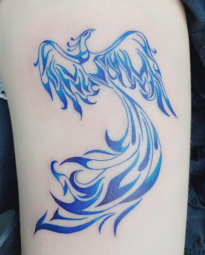 Tribal Blue Phoenix Tattoo