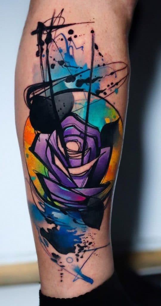 Watercolor Purple Rose Tattoo