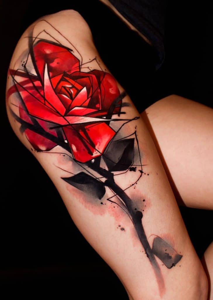Watercolor Red Rose Tattoo