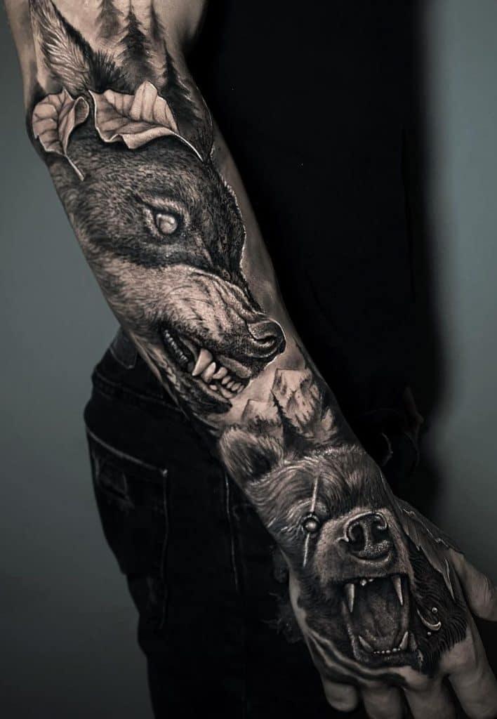 Wolf and Bear Tattoo