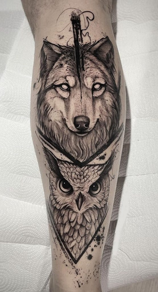 Wolf and Owl Tattoo