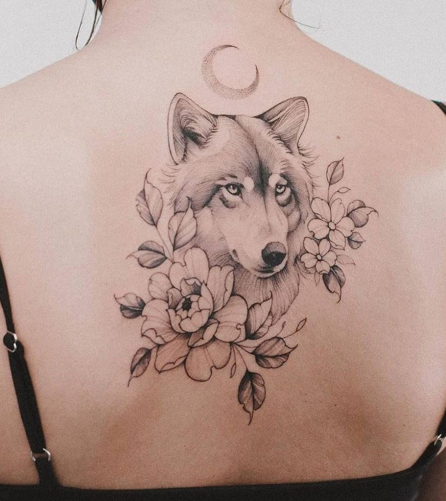 Wolf with Flower Tattoos