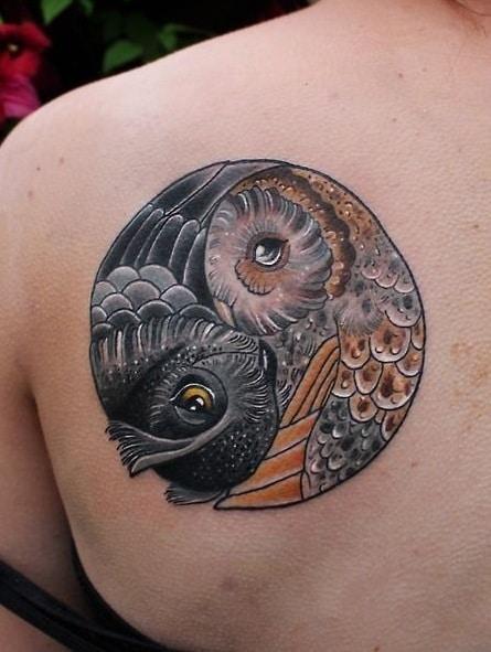 Yin and Yang Owl Tattoo