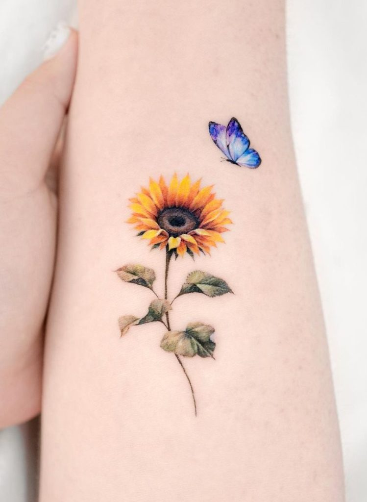 Butterfly and Sunflower Tattoo