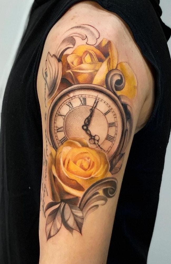 Clock and Rose Tattoos