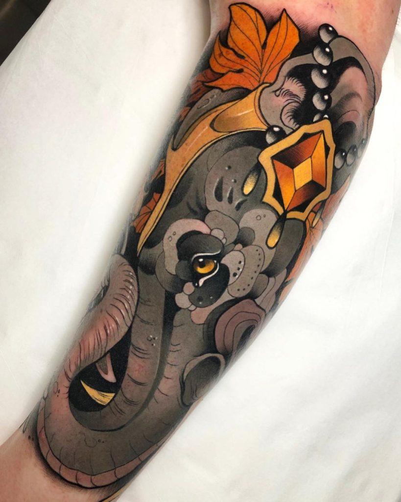Neo-traditional Elephant Tattoo