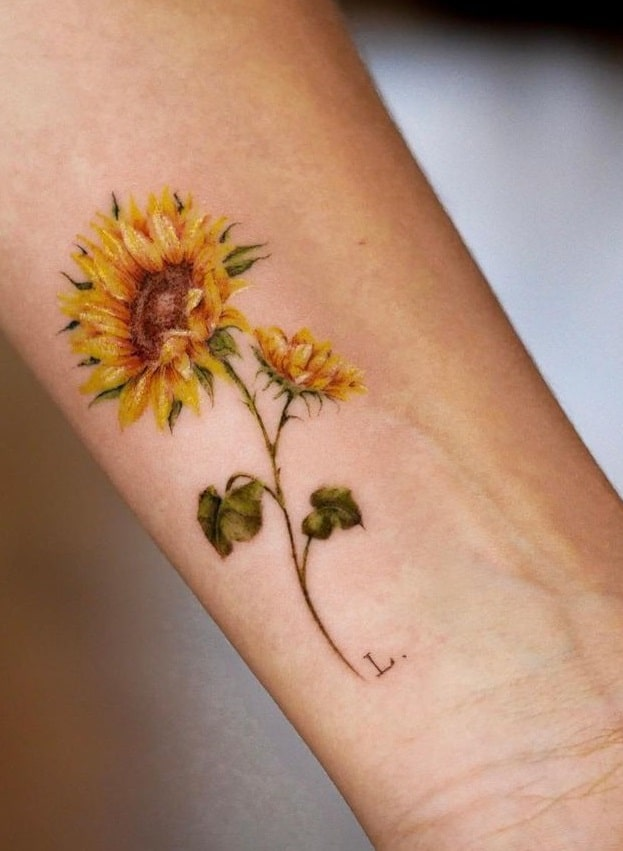 Sunflower Tattoo with Initial